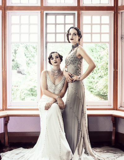 Bridal wear from Gwendolynne Gowns. Head pieces, earrings & accessories from Elysian Creations. Hair and Makeup by Dana Leviston and The Distinctive Dame. Photography by Phoebe Powell Photography.